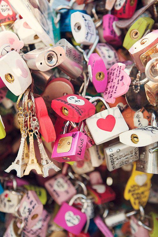 What the world needs now - Photographic Print - Pink, Love Locks, Love, Hearts, Romance, Paris, Seoul, Hot, Eiffel, Photography, Photograph