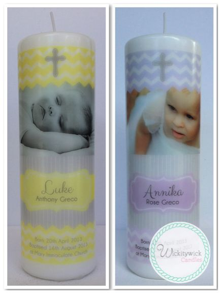 Trendy Photo Personalised Candles by Wickitywick Candles #Baptism Candle #Christening Candle #Naming Day Candle www.wickitywickcandles.com.au