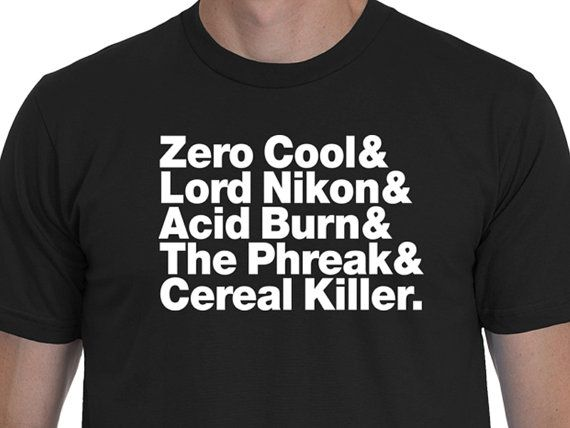 Hackers Themed Helvetica List T-shirt! One of my all time favorite hacker films... so hey, why not turn it into a Helvetica List t-shirt?! So grab a shirt and HACK THE PLANET!1!  Theatrical Trailer: https://www.youtube.com/watch?v=Ql1uLyuWra8   Colors:  This shirt is offered in an array for different colors, and with either black or white printing for the lettering... please make sure to double check your color selection before ordering to ensure you receive the shirt you ...