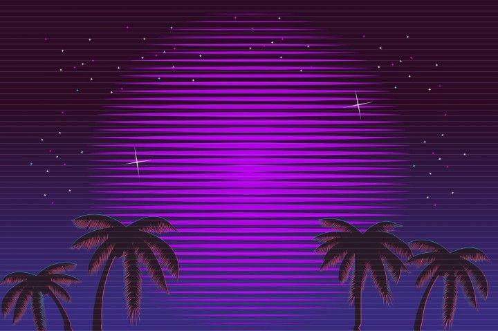80s Retro Neon Gradient Background Palms And Sun Tv