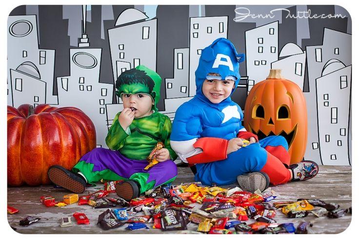 Superhero family candy props costume backdrop halloween mini session