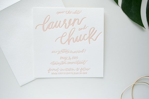 Lauren + Chuck's Pink Brush Lettered Save the Dates