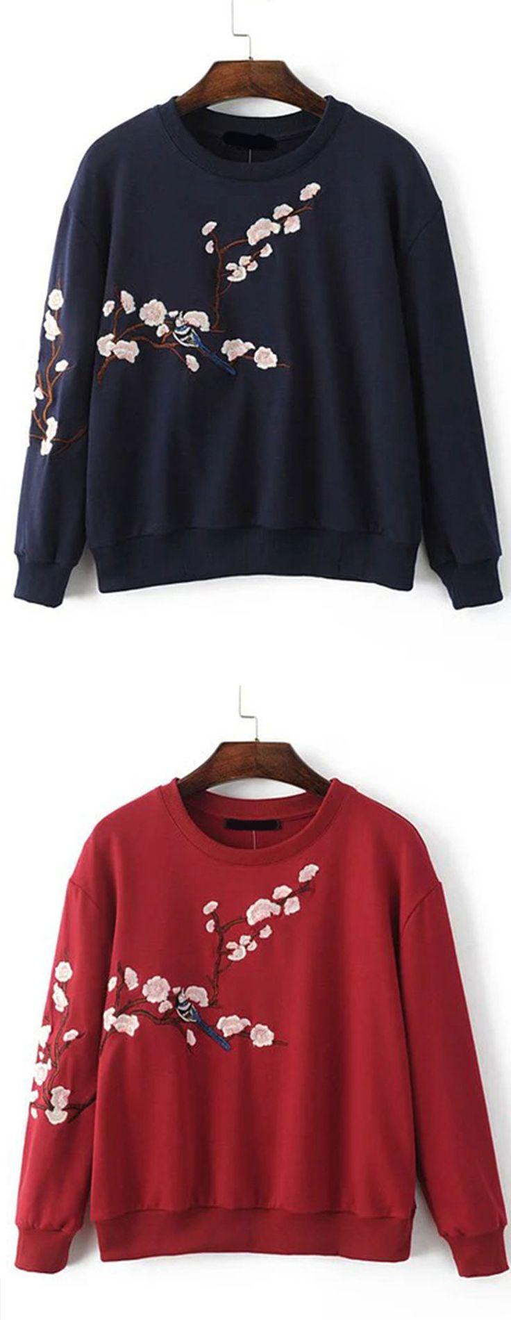 Navy & Red Flower Embroidery Drop Shoulder Sweatshirt