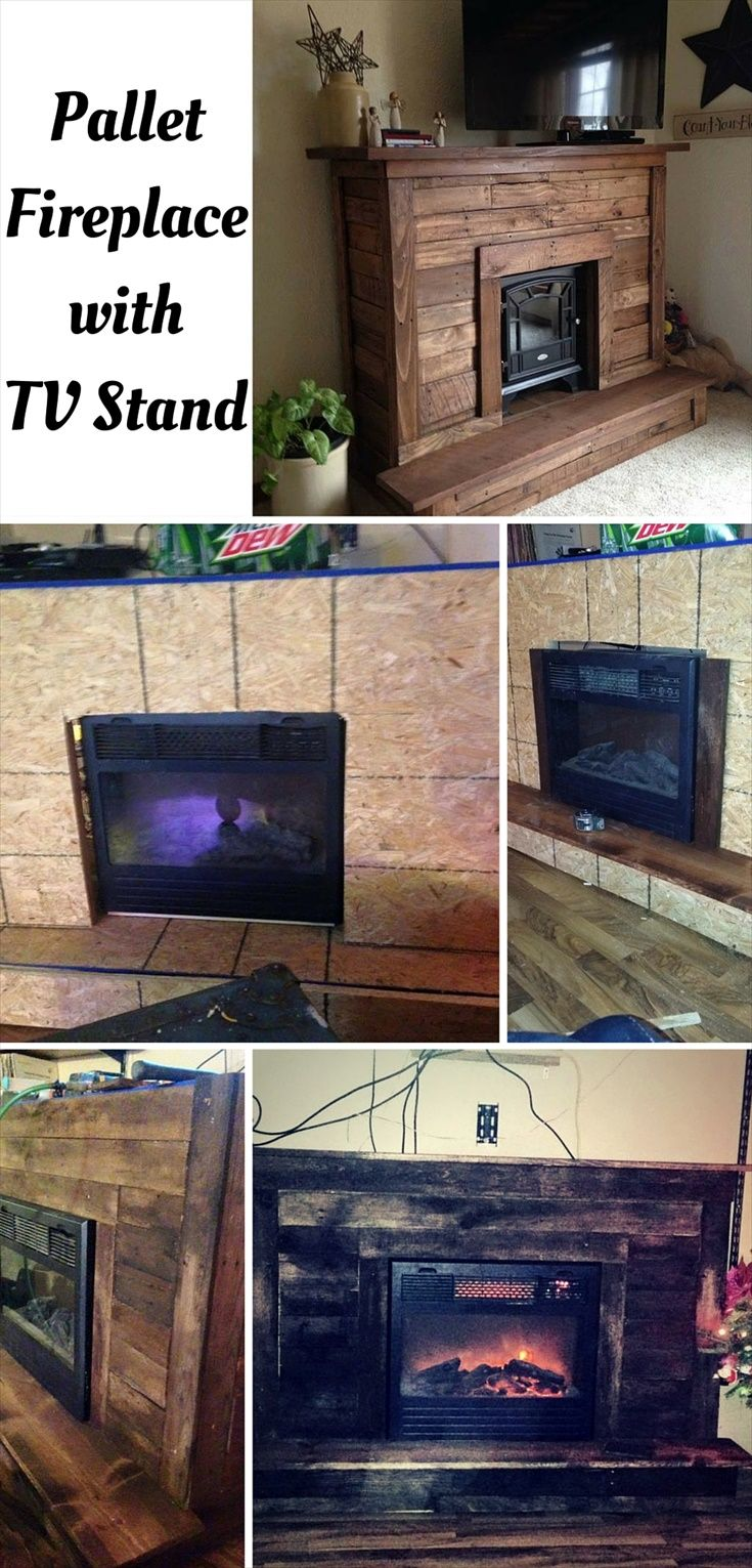 Recycled Pallet wood Faux Fireplace for electric  fireplace.  - Pallet #Fireplace with TV Stand | 101 Pallet Ideas