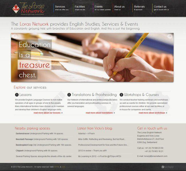 Website for The Loras Network in Zug, Switzerland