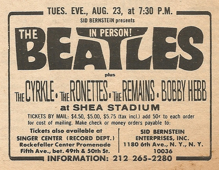 The Beatles at Shea Stadium, Aug. 23, 1966 Concert Ad