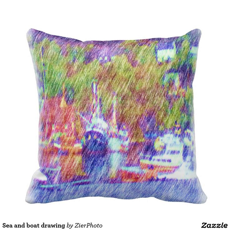 Sea and boat drawing throw pillows