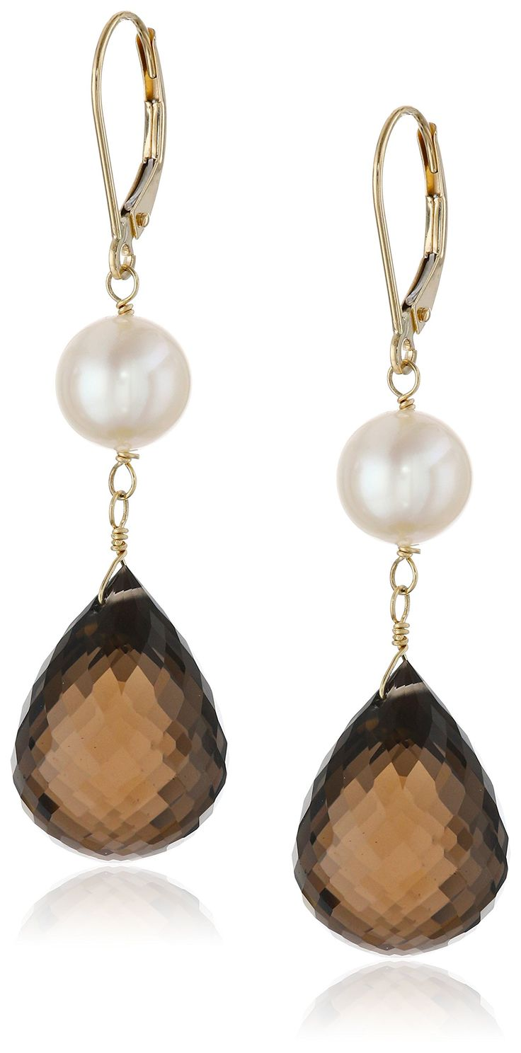 14k Yellow Gold Smokey Quartz and Freshwater Cultured Pearl Dangle Earrings. Gorgeous smokey topaz briolette and pearl drop earrings, set in high polish 14k yellow gold lever-back. Trendy and tasteful, nice for everyday wear. Excellent for all ages and any occasion. The natural properties and process of pearl formation define the unique beauty of each pearl. The image may show slight differences in texture, color, size and shape. Imported.