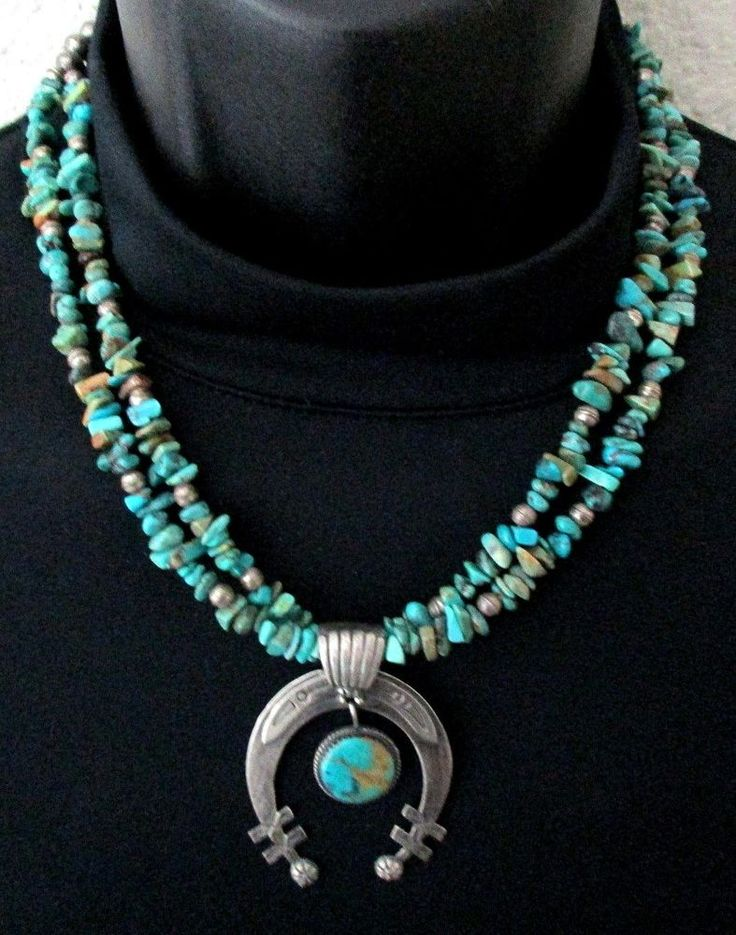 Vintage Old Pawn Silver and Turquoise Necklace with Naja Pendant STERLING *TB304 $199.99