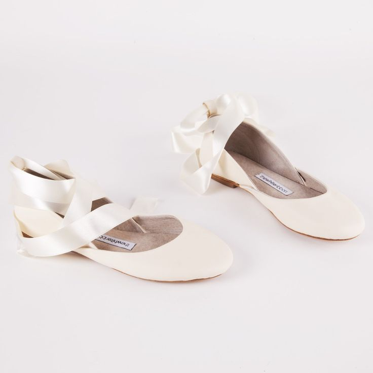 Our Ivory Leather Satin Ribbon Ballet Flats are in stock again!