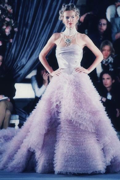 Karen Mulder for Christian Dior by John Galliano Spring 1997 Haute Couture.