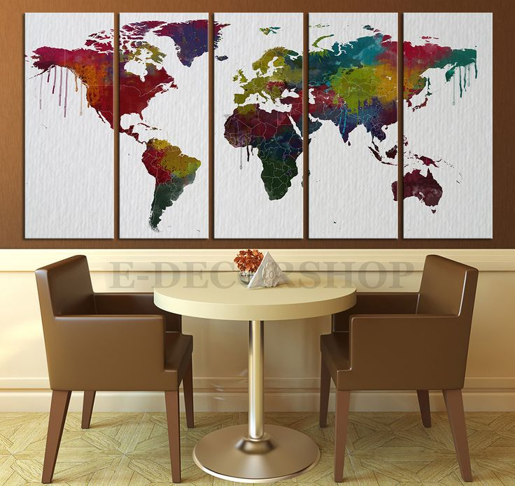 Colorful WORLD MAP on Watercolor Paper Texture Canvas Art Print - Urban World Map Country Lines Canvas Art Print