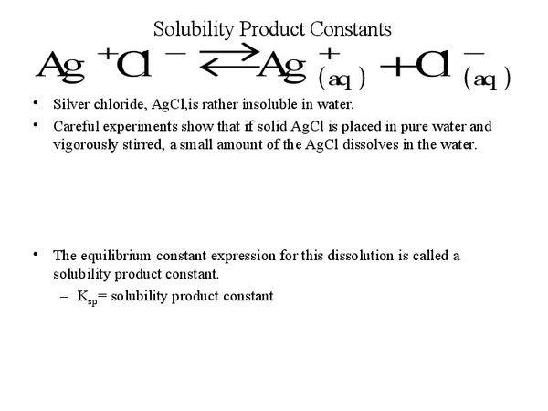 SolubilityProduct Constant Used To Describe Saturated Solutions