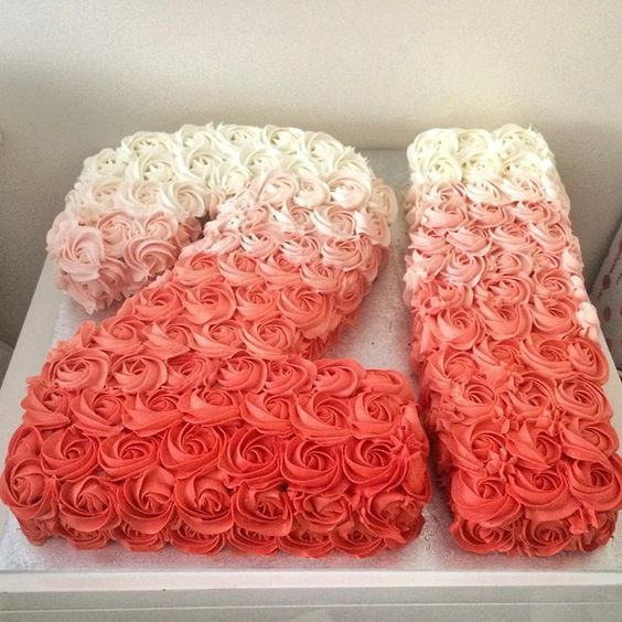Beautiful coral ombré 21st birthday cake