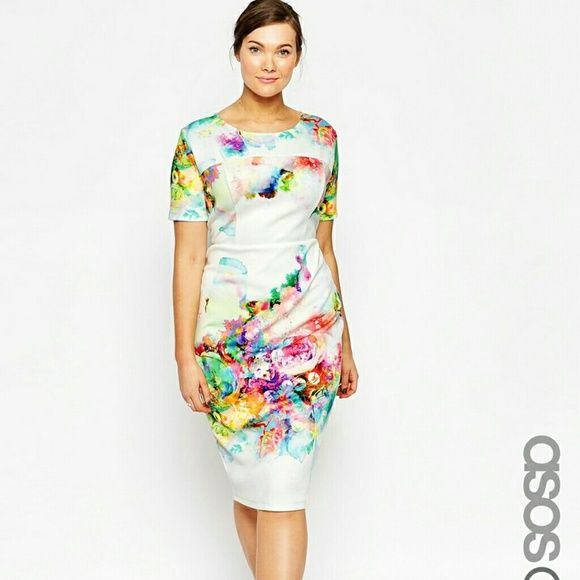ASOS Print Scuba Dress I am not 100% sure I even want to sell this dress because I ADORE it. But, if someone is looking for a gorgeous head-turning dress and is okay with the price, I might give it up. Worn ONCE for a television appearance. Firm. ASOS Dresses
