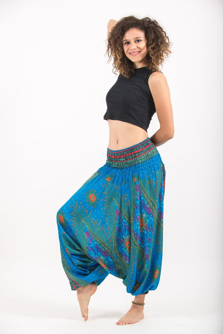 Peacock Eye Jumpsuit Harem Pants in Light Blue