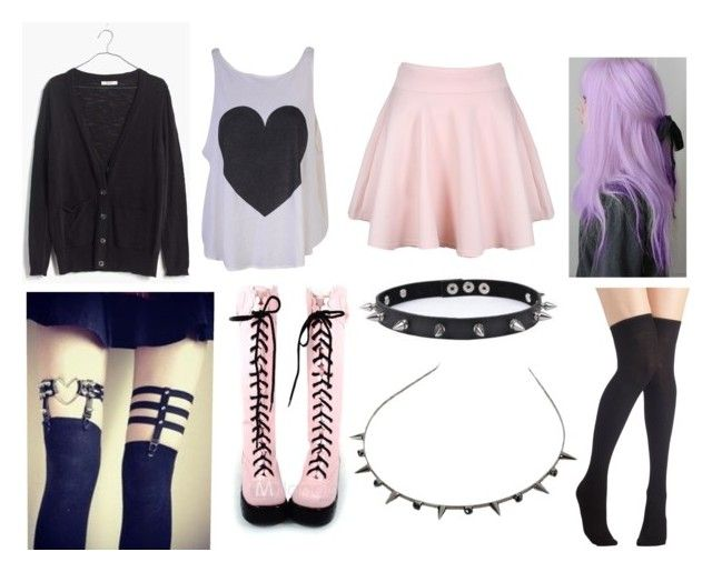 """""""pastel goth #18"""" by ironically-a-strider21 ❤ liked on Polyvore featuring Madewell, Wildfox and Trend Cool"""