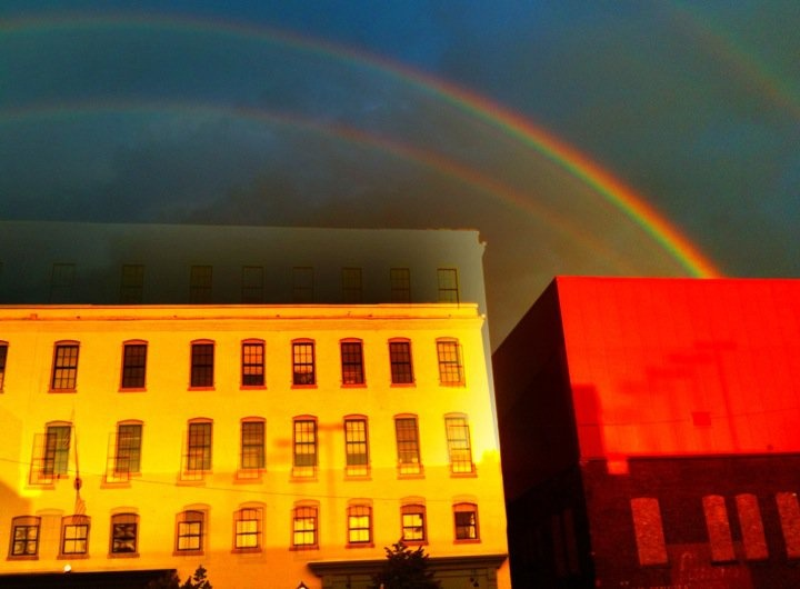 Double rainbow over North Street in Pittsfield, Mass. Photo by Douglass Truth.
