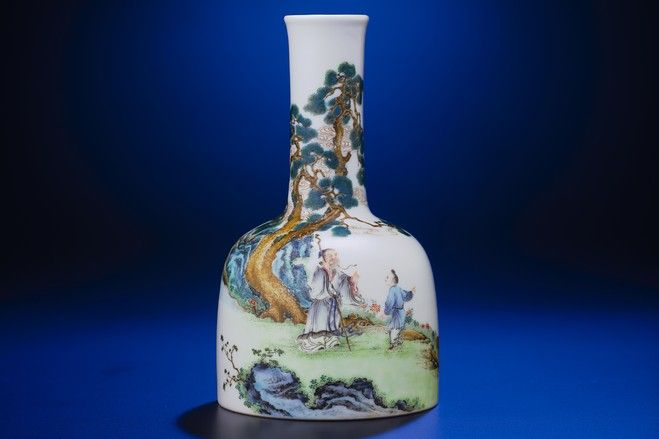 'Beneath pine trees' mallet-shaped vase: Chinese porcelains, along with ink paintings, are the most sought-after items among collectors in Asia, and this vase, which stands barely over a half-foot (18 cm.) tall and dates back to the Qianlong period, is estimated to sell for as much as HK$8 million on Wednesday.