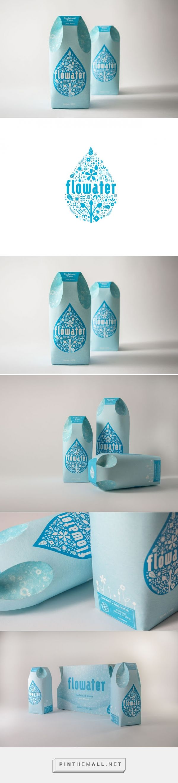 Flowater is a tetra pak of drinking water, which is extracted from flowers that have a healing property for human body. The logo is the water drop shape that contains the ingredient inside. In an effort to maintain the brand's identity with clearness and pureness, the system equips a cool tone color palette, and a refreshed look and feel for drinking water. The structure is made of 100% recyclable paper container.