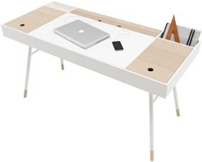 Cupertino desk, the product is available in different colours. As shown, white lacquered/oak veneer/matt white structure lacquered. Our 'all-in-one' desk with integrated Bluetooth enabled speakers and storage space as well as easy cable management
