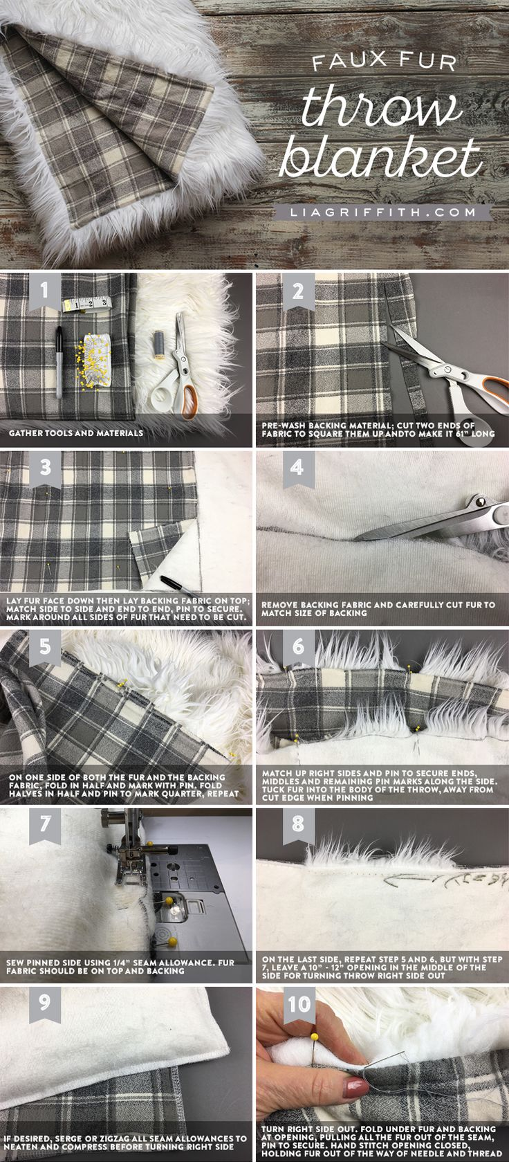 Step by step tutorial for your own Faux Fur Throw Blanket at www.LiaGriffith.com: