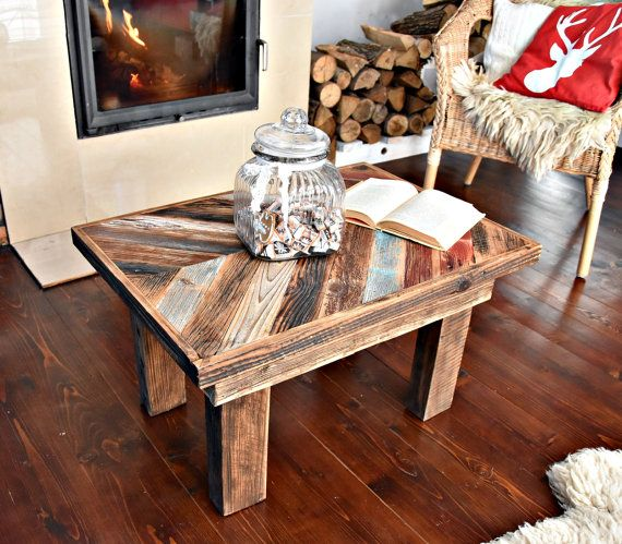 Handmade Industrial vintage farmhouse Rustic unique farmhouse style multicolor Shabby Chic Coffee Table Reclaimed wood Decor Handmade
