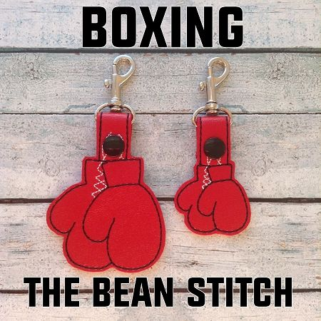 Boxing - Includes TWO(2) Sizes!  #thebeanstitch #beanstitchers #TBS #ith #inthehoop #machineembroidery #felties #feltie #embroidery #digitaldownload #keyfobs #bagtag #diy #snaptab #snapbean #handmade #vinyl #felt #craft #etsy #shopsmall #embroiderygift #travel #everyday #design #multipurpose #boxing #glove #fight #keychain