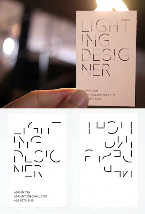 Minimalist Design Black And White Hidden Message Business Card - you can only see the name when you hold it up to the light!