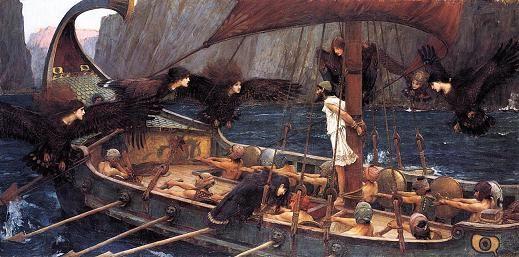 Las sirenas de la Odisea. Ulises se ata al mástil para no caer en la tentacion de las sirenas.