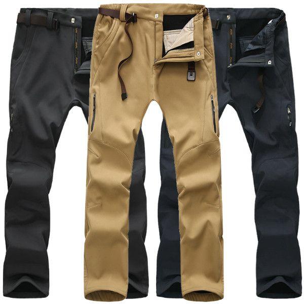 Sale 24% (39.99$) - Mens Outdoor Thick Fleece Warm Quick-drying Pants Waterproof Windproof Sport Pants