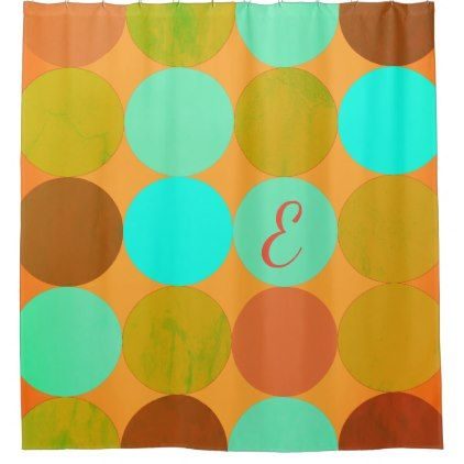 Turquoise Blue Green & Orange Circles Monogram Shower Curtain - modern gifts cyo gift ideas personalize