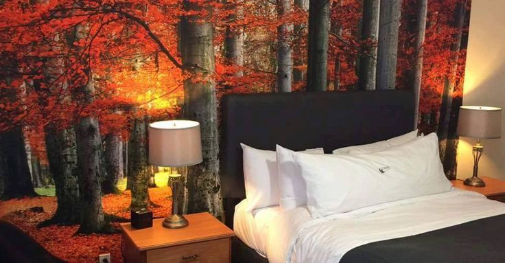 """Our mural """"Red Forest"""" at L'Auberge du Lac St-Pierre (https://www.aubergelacst-pierre.com/en/mauricie-hotel/home/). Thank you to Stéphane Lesieur for the nice pictures! www.muralunique.com"""