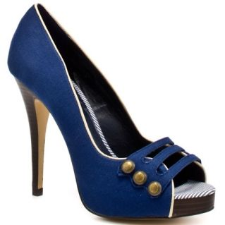 Blue peep-toe sailor shoes                                                                                                                                                                                 More