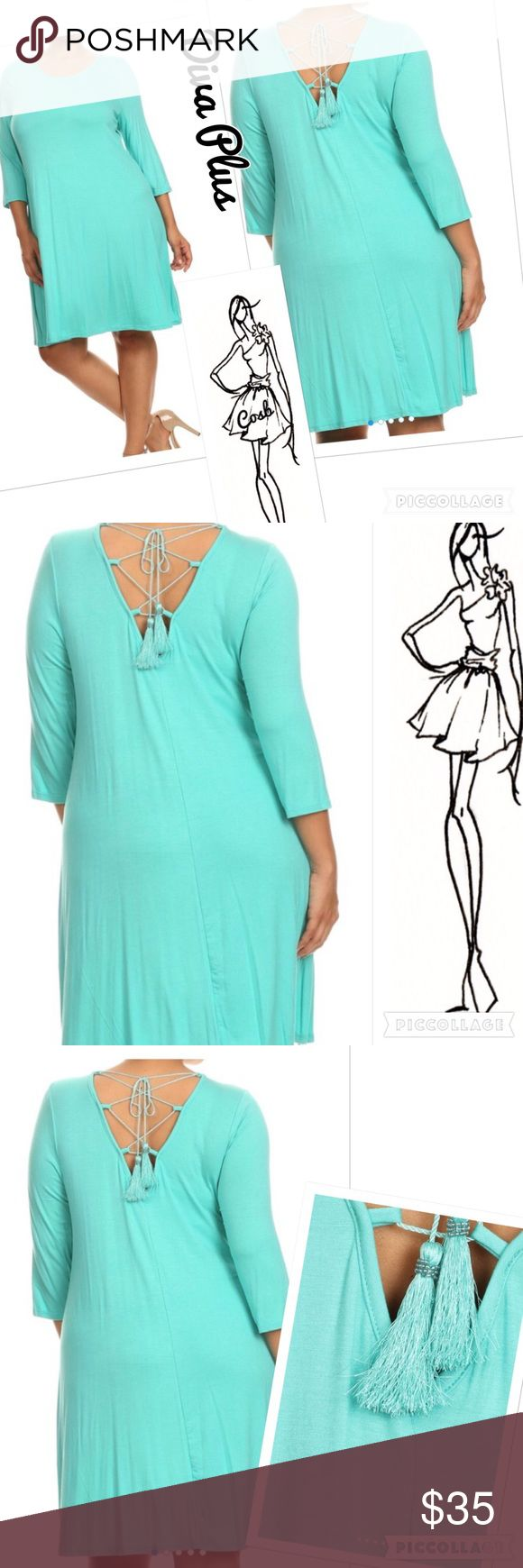 SALE!✨Diva Plus Aqua Dress w/Tassels Diva Plus Aqua Color Dress. Dress has rounded neck in the front & sleeves stop below elbows. Back of dress has V back with lace up & hanging tassels. Plus size only. ✨Price is firm unless bundled. Cosb Dresses