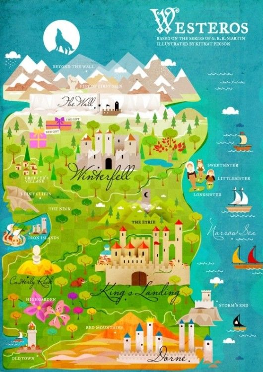 A cute map of Westeros from GAME OF THRONES