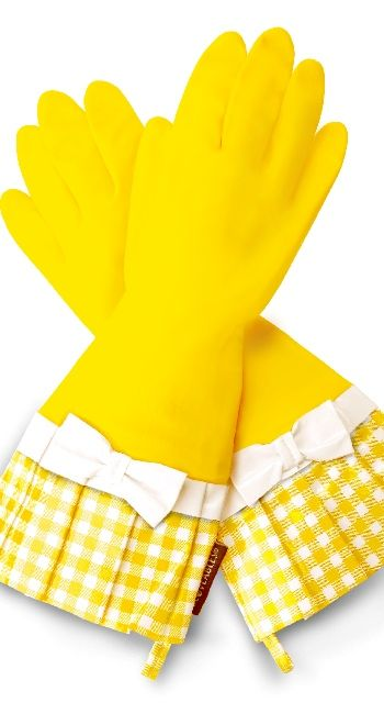 Gloveables Grandway Rubber Cleaning Gloves Yellow Retro Gardening Kitchen Dish