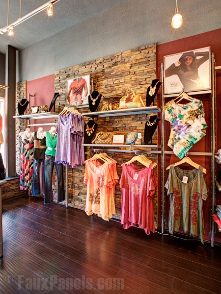Our faux stone is a great looking backdrop for showcasing their products and, when placed near checkout counters, it also withstands heavy wear and tear. That's what Shakabuku Designs found when they chose our Drystack Earth siding panels. This charming boutique has a full line of clothing and specializes in custom embroidery, so they wanted something that would work well with their design aesthetic. http://www.fauxpanels.com/img_c/14-wellington/design/257.jpg ...