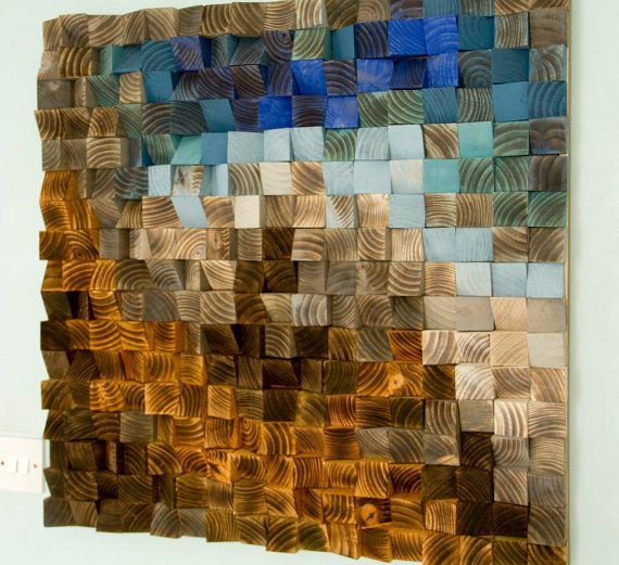 Large Wood wall Art, wood mosaic, geometric art, large art painting on wood…