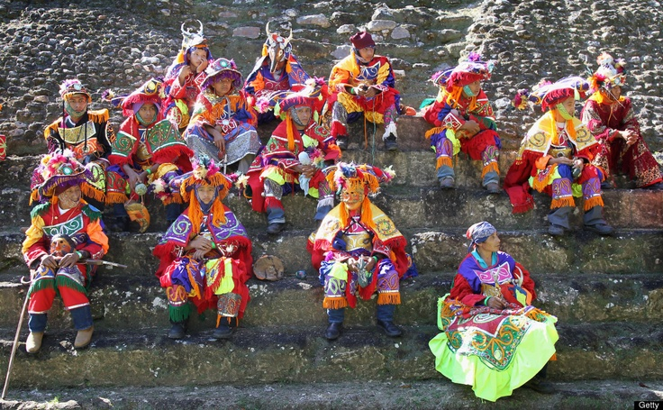 Traditional Belizian 'Deer Dancers' ahead of Prince Harry's visit to Xunantunich Mayan Temple on March 3, 2012 in Benque Viejo del Carmen , Belize. (Photo by Chris Jackson/Getty Images)