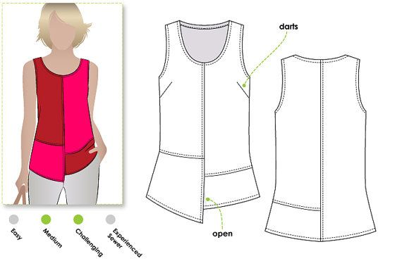 Womens sleeveless paneled pull-on top sewing pattern! Sewing pattern for women in sizes 16, 18 and 20. PDF pattern for instant download. See size chart