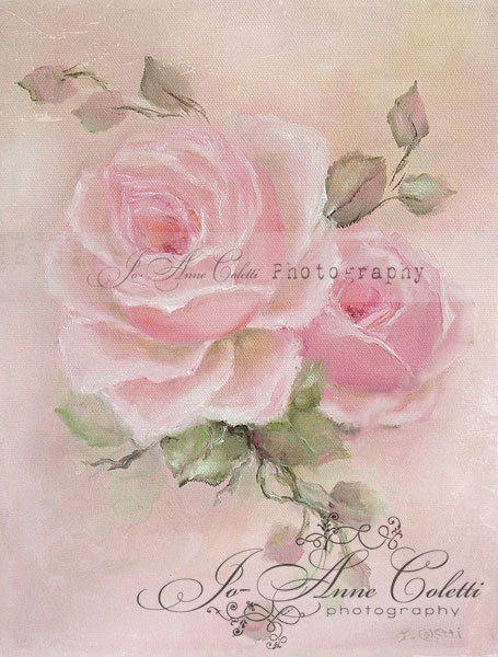 Roses Canvas print shabby chic romantic rose by