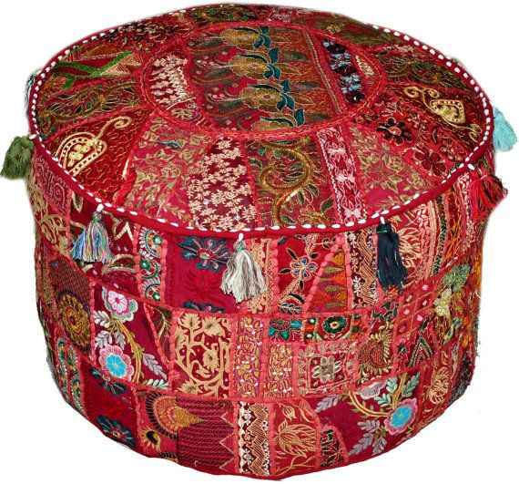 Eclectic Bohemian Style Maroon Red Ottoman Pouf Chic Interior