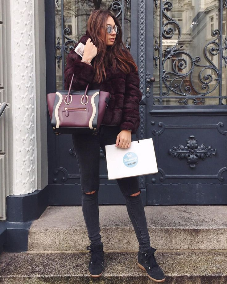 Burgundy fur jacket, celine bag, Isabel marant Bobby