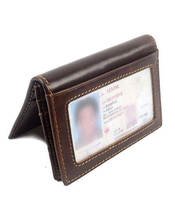 Men Slim ID Credit Card Holder Front Pocket RFID Blocking Bifold Leather Wallet