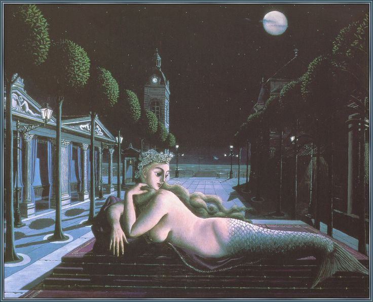 Paul Delvaux a-siren-in-full-moonlight: