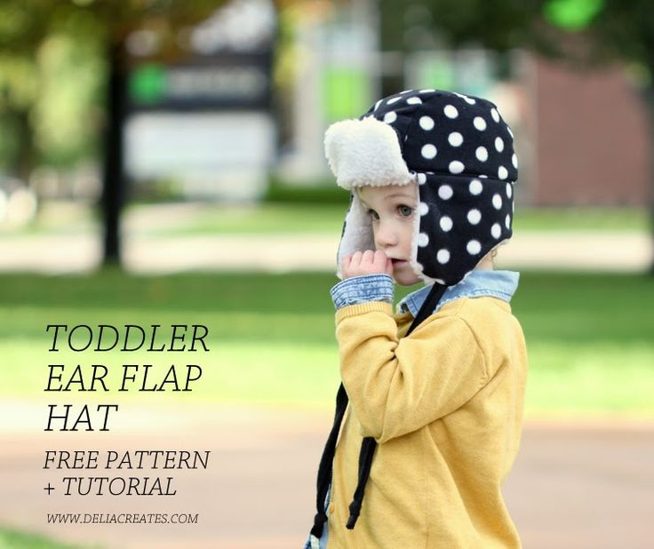 Toddler Ear Flap Hat tutorial from Delia Creates