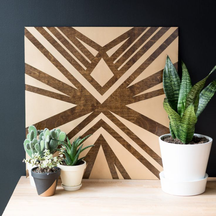 Stained and Painted DIY Plywood Art Display