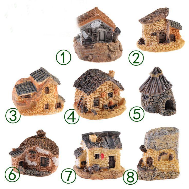 1Pcs Cute Mini House DIY Resin Fairy Garden Craft Decoration Miniature Micro Gnome Terrarium Gift F0189