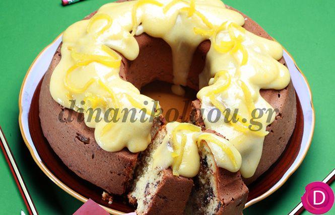 Κέικ μαρμπρέ με γλάσο λευκής σοκολάτας | Dina Nikolaou